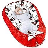 Warmes Nestchen Baby 90x50 cm - Kuschelnest Neugeborene Baby Nestchen Bett Winter / Herbst Kokon Babynest Rot Minky