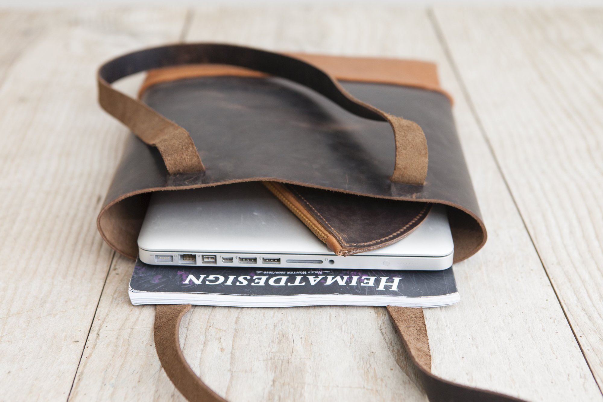 Leather Tote Bag, Shoulderbag handmade in Germany - handmade-bags