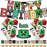 smileh Decorazioni di Compleanno Videogiochi Palloncini Striscioni di Buon Compleanno Toppers Torta per Bambini Decorazione F