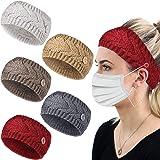 Dee Banna® - Fascia per capelli lavorata a maglia, a maglia, con bottoni annodati all'uncinetto, fascia elastica intrecciata,