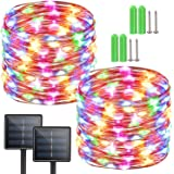 Solar String Lights Outdoor,Solar Powered Fairy Lights 2-Pack 72ft 200LED 8 Modes,Waterproof Copper Wire Lighting for Christm