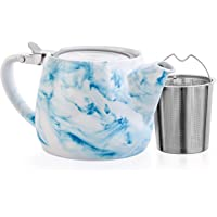 Tealyra - Marble Porcelain Teapot Blue - 650ml (2-3 Cups) - Unique Design - Extra-Fine Infuser and Stainless Steel Lid…