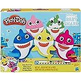 هاسبرو بلاي-دوه مجموعة سمكة القرش للاطفال مع 12 علبة غير سامة