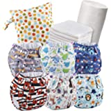 Set of 6 Reusable Nappies - Washable Cloth Nappies + 6 Washable Bamboo Nappy Inserts + 1 Roll of 100 Bamboo Flushable…