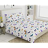haus & kinder French Riviera Beau Papillon, 100% Cotton Bedsheet with 2 Pillow Covers, 186 TC, King Size (Purple)