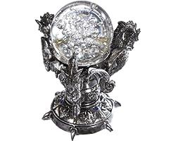 Design Toscano Dragons du Château de Corfou Statue Figurine Globe Décor Gothique, 13 cm, Polyrésine et verre, chrome argenté