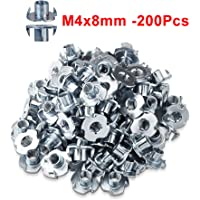 Captive Blind Inserts for Wood and Furniture KADco/® 4-Pronged Tee Nut M4 x 8mm 10 pcs Steel Bright Zinc Plated T Nuts