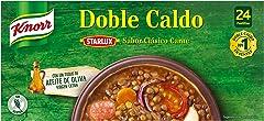 Knorr Caldo en Pastillas Doble Sabor Clásico Carne sin Gluten Ni Conservantes, 24 Pastillas, 240g