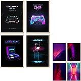 myDreamwork Gaming Poster | Poster Set | OHNE Bilderrahmen | Gamer Geschenk | Zocker Geschenk | Bilderset Neon Schriftzug | 4