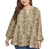 ZJML Blusa Estampada con Cuello Pico Gran Tamaño para Mujer, Elegante Camisa Manga Larga,Latón,XL
