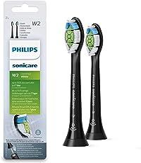 Philips Sonicare Original Aufsteckbürste Optimal White HX6062/13, entfernt bis zu 2x mehr Verfärbungen, RFID-Chip, Standard, 2er Pack, Schwarz