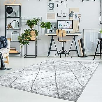 Carpet City Teppich Flachflor Moda, Meliert Mit Geometrischen Muster In  Raute Optik In Grau, Weiß Für Modernes Wohnen Größe 140/200 Cm