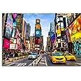 Paul Sinus Art 120 x 80 cm canvasafbeelding op spieraam New York Times Square reclamen straat verkeer muurschildering op doek