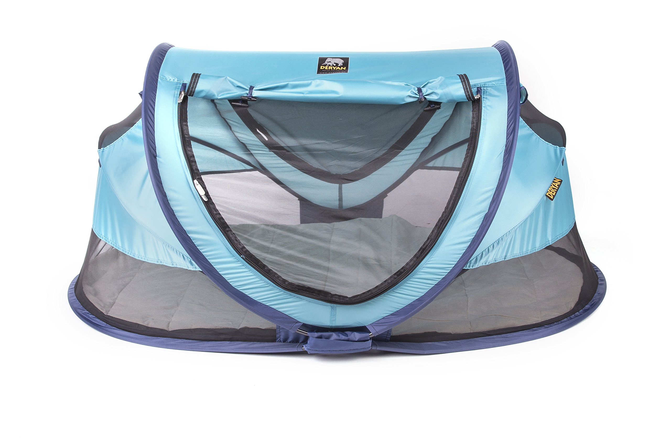 Travel Cot Peuter Luxe (Ocean) Deryan 50% UV Protection and flame retardant fabric Setup in 2 seconds and a anti-musquito net  1