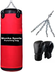 Monika Sports Unfilled Boxing Kit Red Black 36 (Black Boxing Gloves And Punching Bag With Chain)