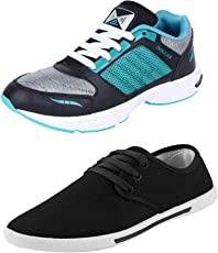 Chevit Men's Combo Pack of 2 Running Shoes with Floater Sandals (Sport Shoes)