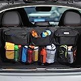 COOFULL Organizador de maletero de coche – Bolsa de gran capacidad para colgar el coche con 7 bolsillos ampliados, 2 palos má