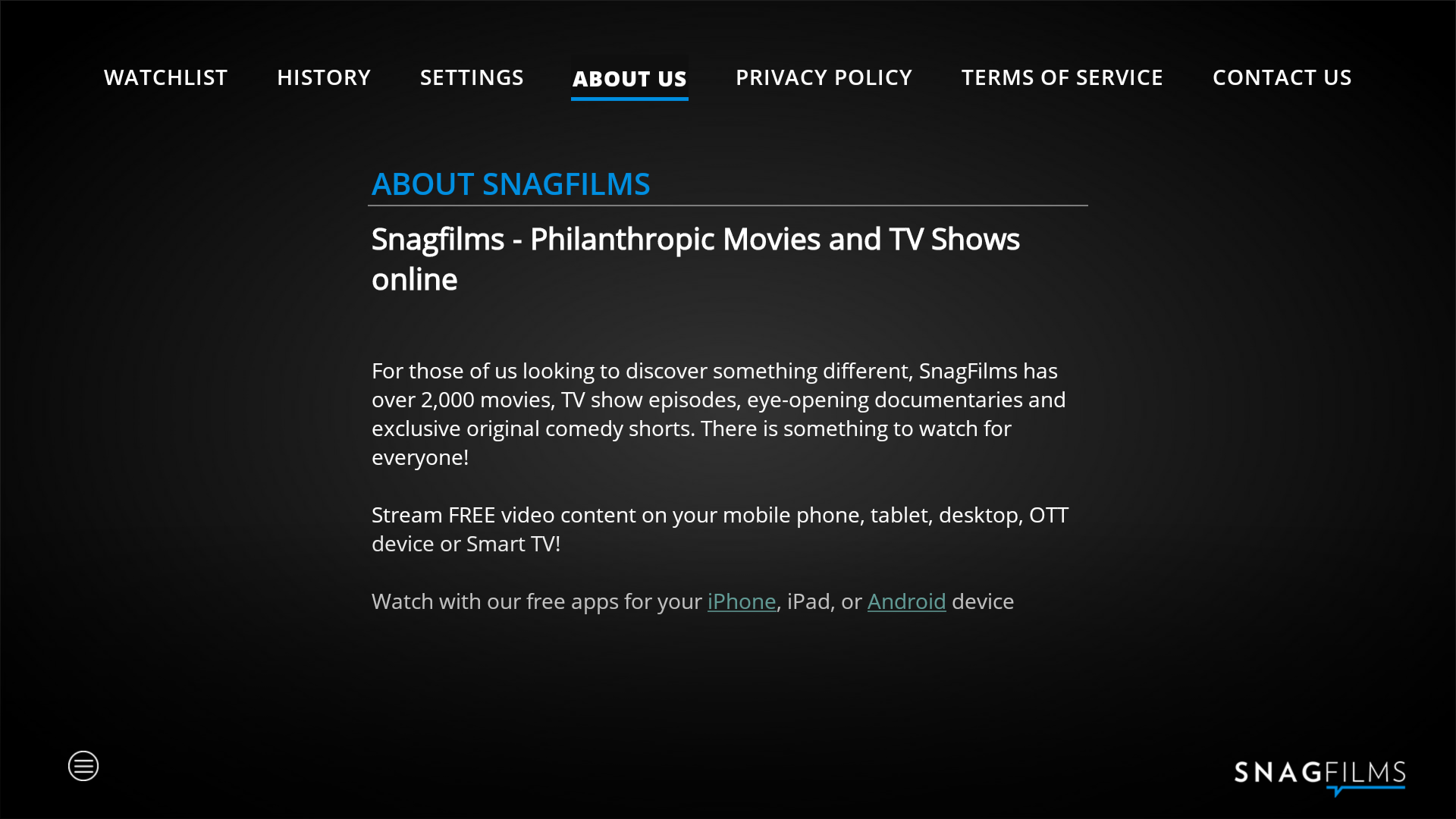 SnagFilms: Watch Free Movies & TV Shows: Amazon.de: Apps für Android