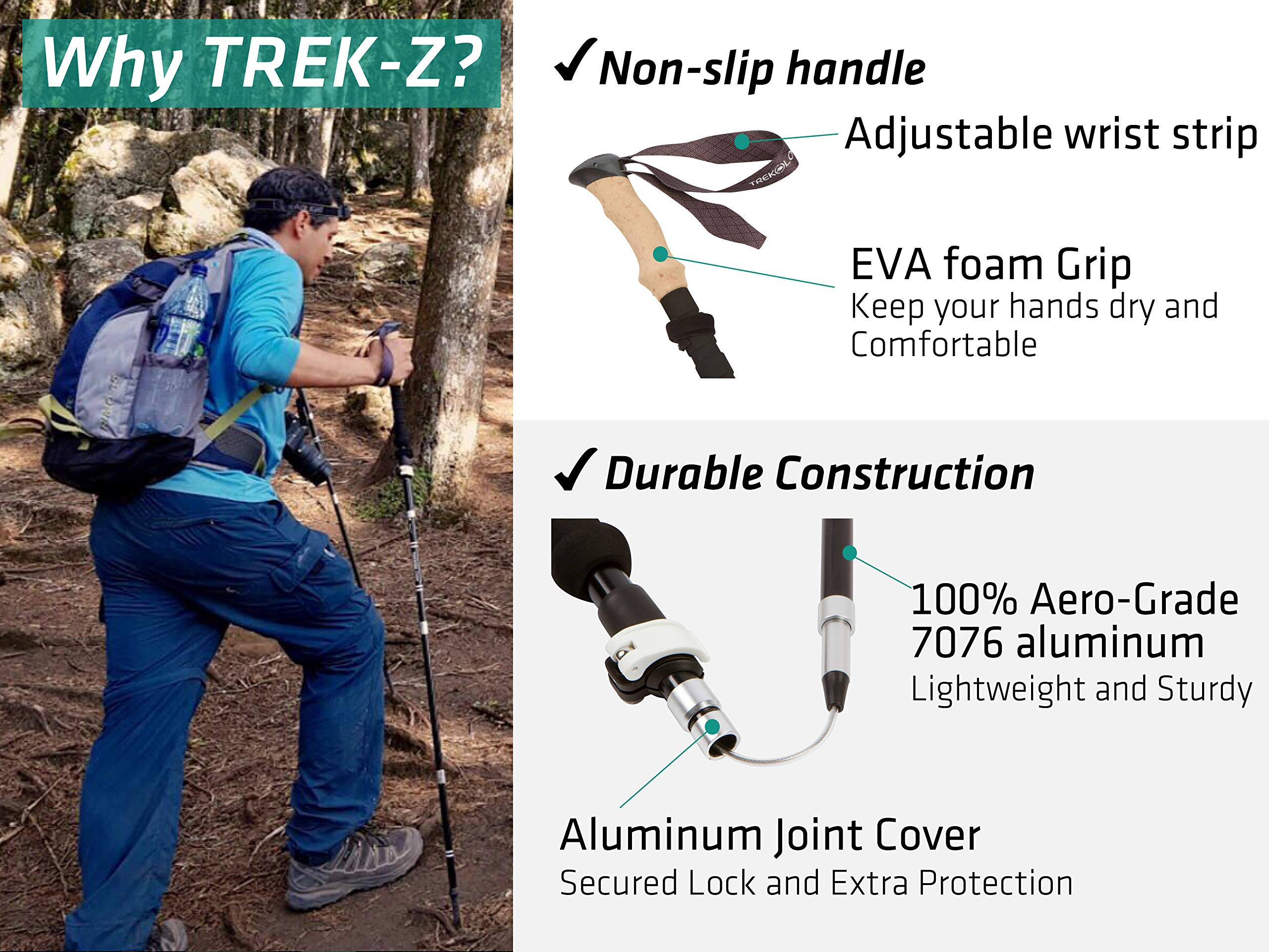 Trekology TREK-Z Collapsible Tri-fold Trekking Pole Hiking Poles Adjustable