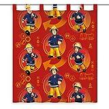 Herding Rideau en Polyester Motif Sam Le Pompier, Polyester, Rouge, 160 x 140 cm