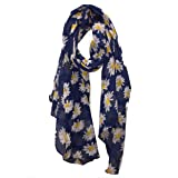Sciarpa blu scuro con disegno a margherita. -- Navy blue daisy scarf.