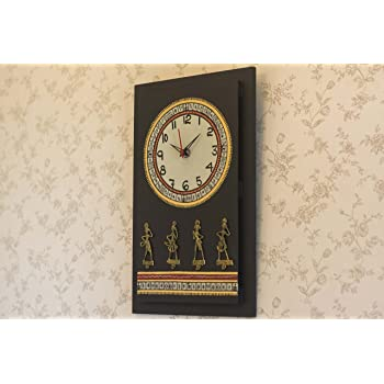3232c0a25ea Indikala Antique Handpainted Warli And Dhokra Wooden Work Black Wall Clock  With Dhokra Craft 16 Inch