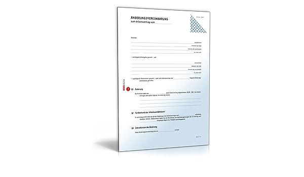 nderungsvereinbarung arbeitsvertrag download amazonde software - Anderungsvertrag Muster
