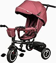 Kiwicool Kids Tricycle 7-in-1 Baby Trike Tricycle with Push Handle/Wheel Clutch/Rotating and Reclining Seat for Children to Sleep in (Red)