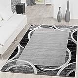Paco Home Tapis de Salon Moderne avec Bordure Tapis De Marque Moucheté Gris Noir Crème, Dimension:120x170 cm