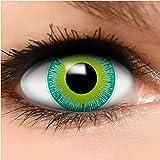 FUNZERA® Lentillas de Colores Green Alien + recipiente para lentes de contacto, sin dioptrías pack de 2 unidades - cómodas y