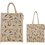 SBV Yoga Design Tote Bag ǀ Jute Bag ǀ Hand bag ǀ Lunch Bag ǀ Multipurpose Bag ǀ Eco-friendly and Resuable Bag - Combo of 2 {B