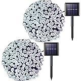 JMEXSUSS 2 Pack Solar String Light 200LED 75.5ft 8 Modes Solar Christmas Lights Waterproof for Gardens, Party, Homes, Christm