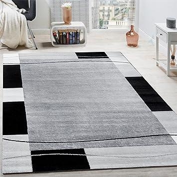 Designer Teppich Wohnzimmer Bordre In Grau Schwarz Creme Preishammer Grsse240x340 Cm Amazonde Kche Haushalt