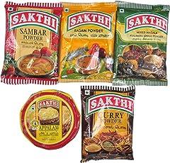 Sakthi Sambar Powder 50 Gm Rasam Powder 50Gm Curry Masala 50Gm Mixed Masala 50Gm And Appalam 100Gm