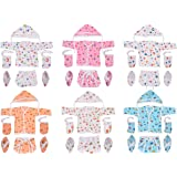 Toddylon® Baby Boy/Baby Girl 6 Jhabla/Shirts with 6 Nappies, 6 Cap and 6 Pairs of Mitten & Booty (0-6 Months) (Assorted)