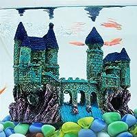 AQUAPETZWORLD Small Ancient Castle Resin Background for Small Fish Tank Aquarium Accessories Fish Hide HouseBeautiful…