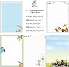 niedlicher BRIEFPAPIER-MIX 5 x 10 Blatt DIN A4 für Kinder mit Linien insg. 50 Blatt / Briefpapier Set für Kinder / Briefpapier für Mädchen und Jungen