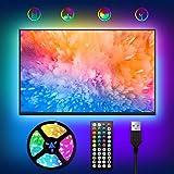 LED TV Retroilluminazione, WOANWAY 2M Striscia LED Musicale USB,44 Tasti Telecomando e 20 Colori e 8 Modalità,Striscia Lumino