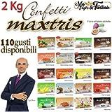 Generico Kit Confetti Maxtris Bianchi per confettate o Bomboniere Gusti a Scelta - per Matrimonio, Battesimo, Nascita…