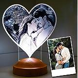 Lampada regalo per San Valentino, personalizzabile con foto e testo in 3D, con motivo a LED inciso (cuore)