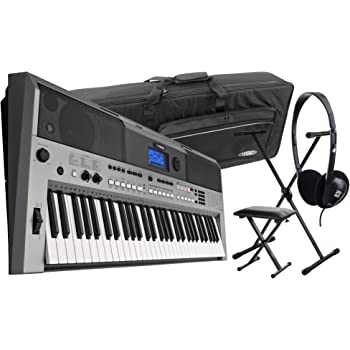 Yamaha PSR E443 Keyboard Deluxe Set (Einsteigerkeyboard mit 61 anschlagsdynamischen Tasten, 775 Sounds, 200 Styles, Belgeitautomatik, USB-Port, Inkl. Ständer, Kopfhörer, Tasche und Keyboardbank)