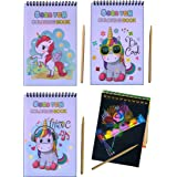 Birthday Return Gift Rainbow Unicorn Scratch Art Magic Notebook(Set of 10) for Kids, 20 x 14 cms with Wooden Stylus for Girls
