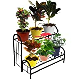 ORCHID ENGINEERS Metal Pot Stand, Black, Width-24 inch x Breadth-8 inch x Height-4 inch, 2 Pieces