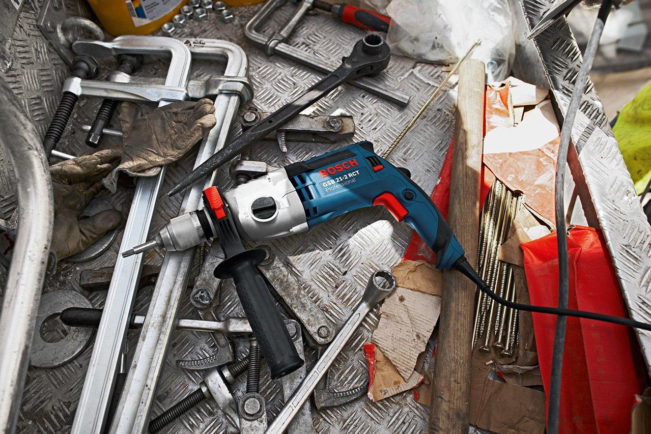 Bosch Professional GSB 21-2 RCT – Taladro percutor (1300 W, 2 velocidades, max perforación hormigón 22 mm, en maletín)
