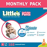 Little's Baby Pants Diapers with Wetness Indicator and 12 Hours Absorption |Small 168 Count| Monthly