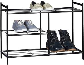 Relaxdays Schuhregal SANDRA mit 3 Ebenen, Schuhablage aus Metall, mit Stiefelfach, HBT: ca. 50,5 x 70 x 26 cm, für 8 Paar Schuhe, mit Griffen, schwarz weiß hellbraun