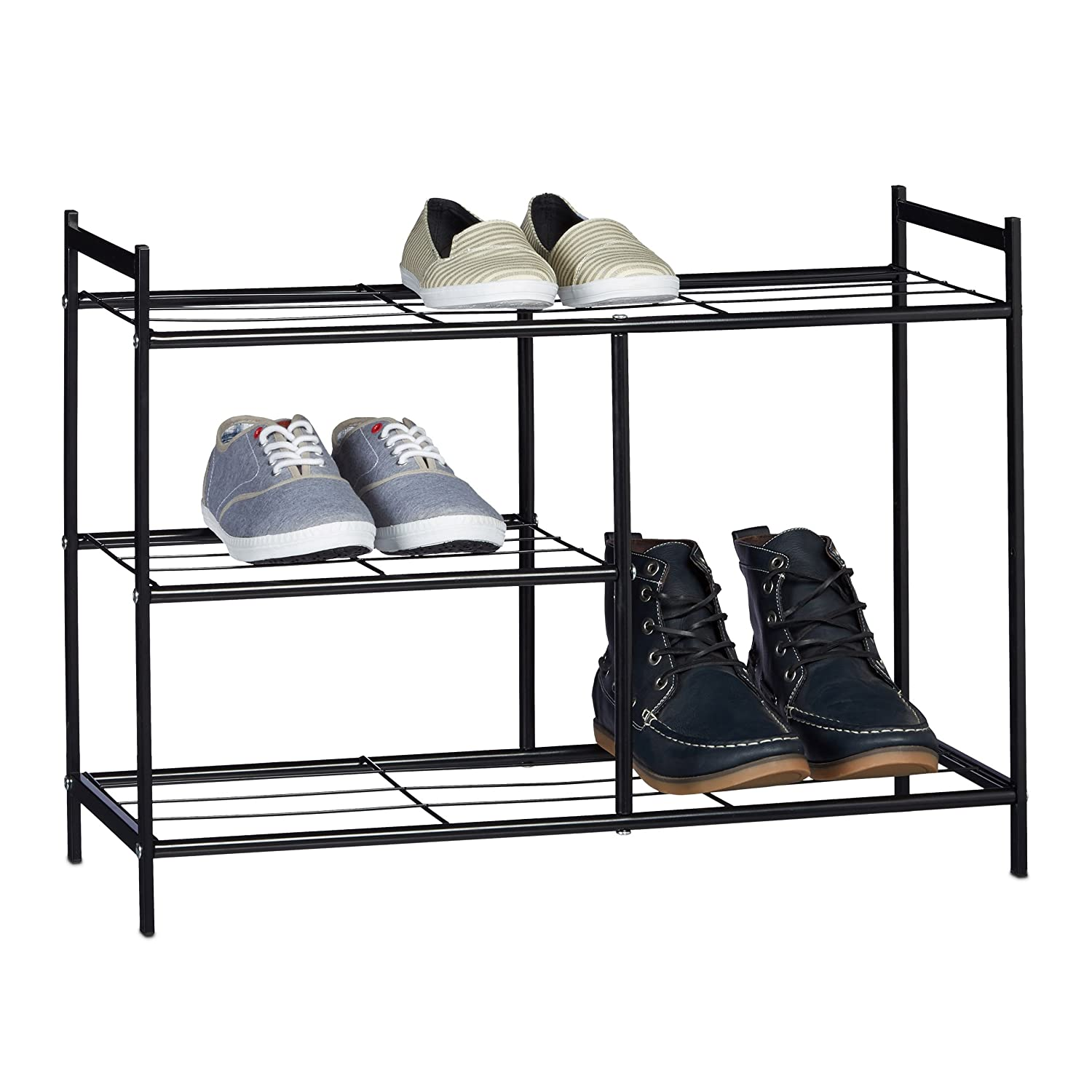 relaxdays shoe rack sandra with 3 shelves metal shoe storage with boot shelf size 505 x 70 x 26 cm for 8 pairs of shoes with handles black