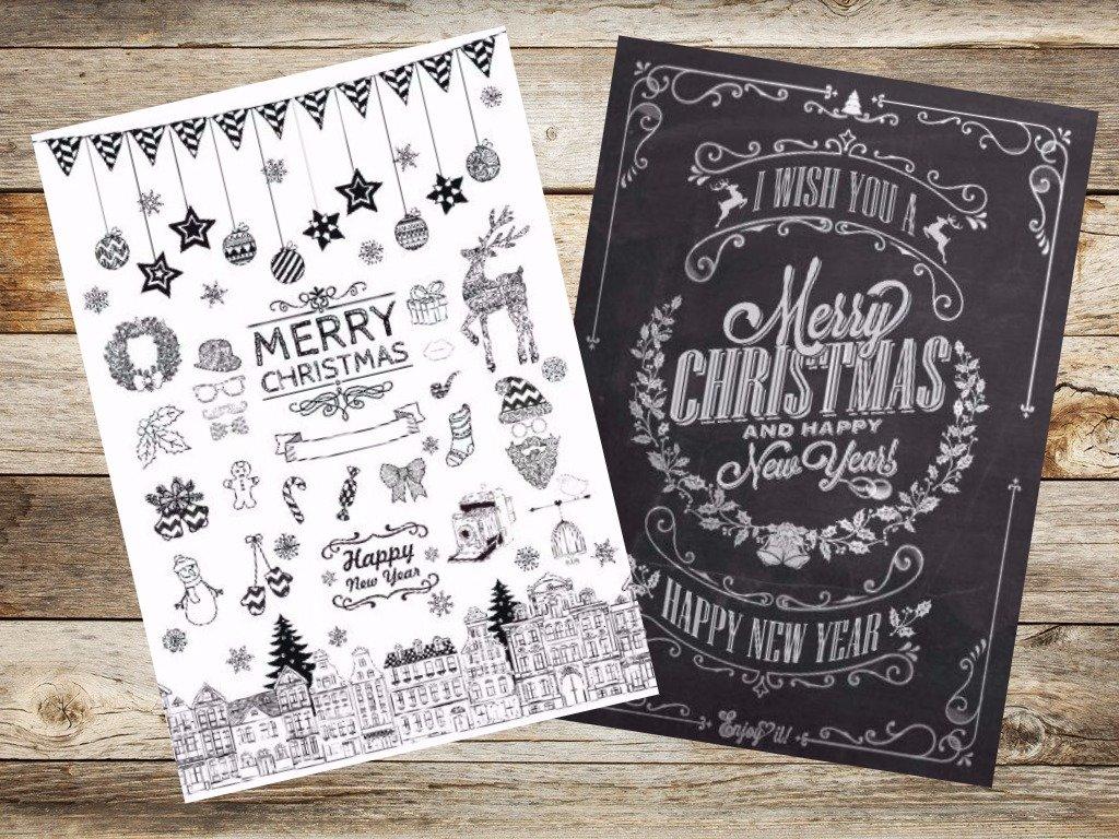 Weihnachtskarten Set Günstig.50 Weihnachtskarten Kreide Nostalgie Iii