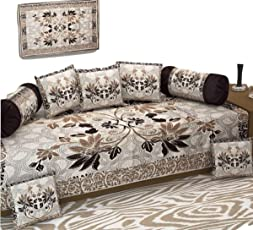 New Premium Quality Diwan Set- Heavy Fabric Floral Design Diwan Bedsheet Set of 8 Pieces for Living Room- Coffee Color by Decoholic
