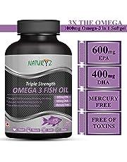 Naturyz Triple Strength Omega 3 Fish Oil 1400mg with 1000mg Omega 3 (600Mg EPA & 400Mg DHA) - 60 Softgels